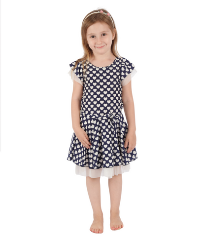 Navy hearts flared dress