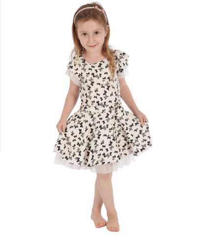 ivory butterfly flared dress