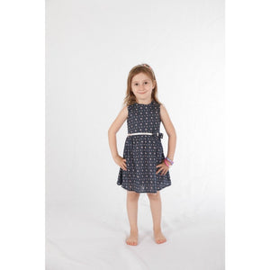 Floral navy cotton tulle dress