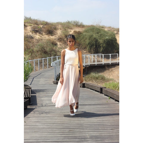 Blush maxi chiffon dress