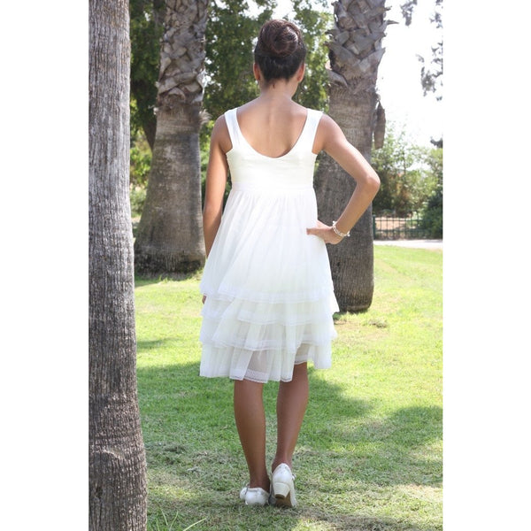 Ivory chiffon layered  party dress