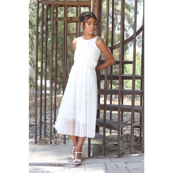 Ivory chiffon midi dress