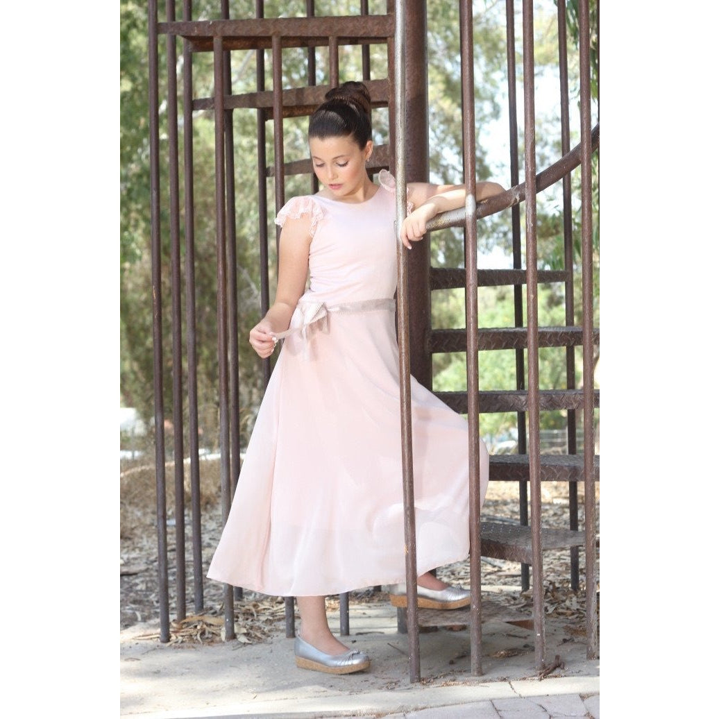 Pink Rustic Chiffon Party Dress