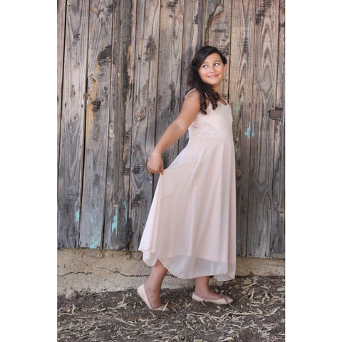 Pink glitter  chiffon maxi dress