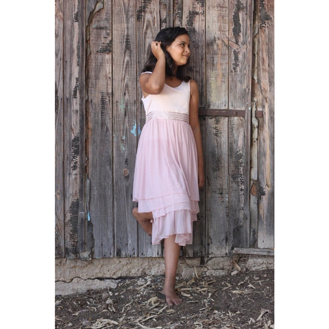 Blush rustic chiffon layered dress