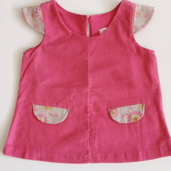 Pink flower  Corduroy mini pinafore dress