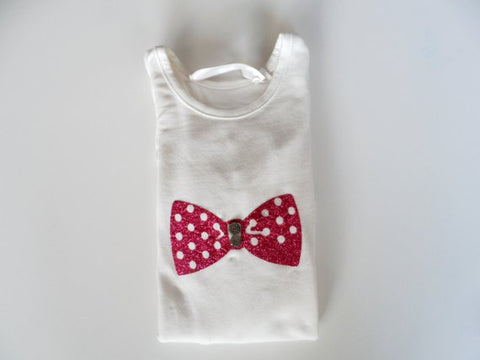 Ivory glitter bow tie  shirt