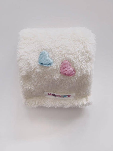Ivory pink&blue hearts  minky girls scarf