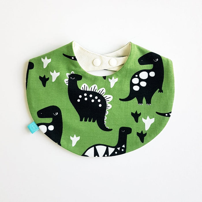 Dino Round Bib | Forest Green