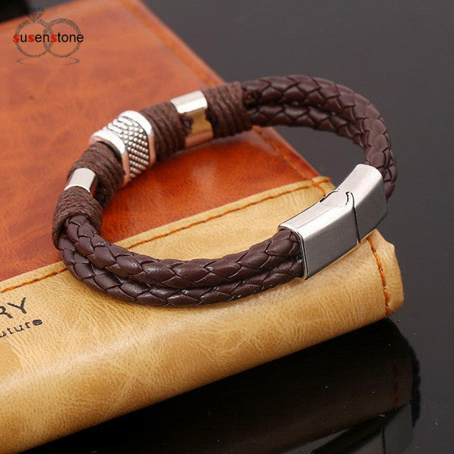 Sunstone Leather Anchor Bracelet