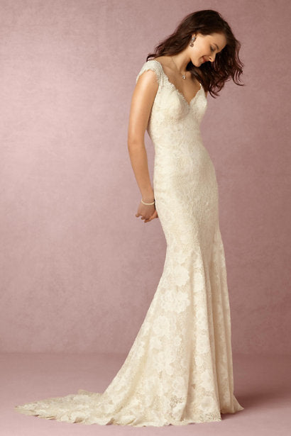 Short Cap Sleeves Low v Back Lace Wedding Gowns – shinevalleydresses