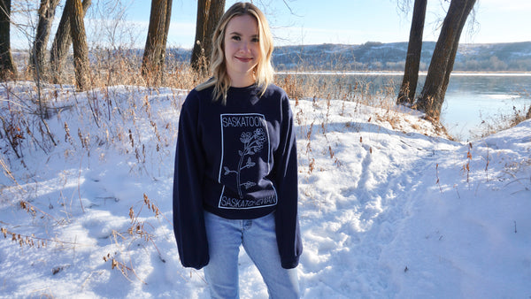 Saskatoon Berry Crew Neck Sweater Navy