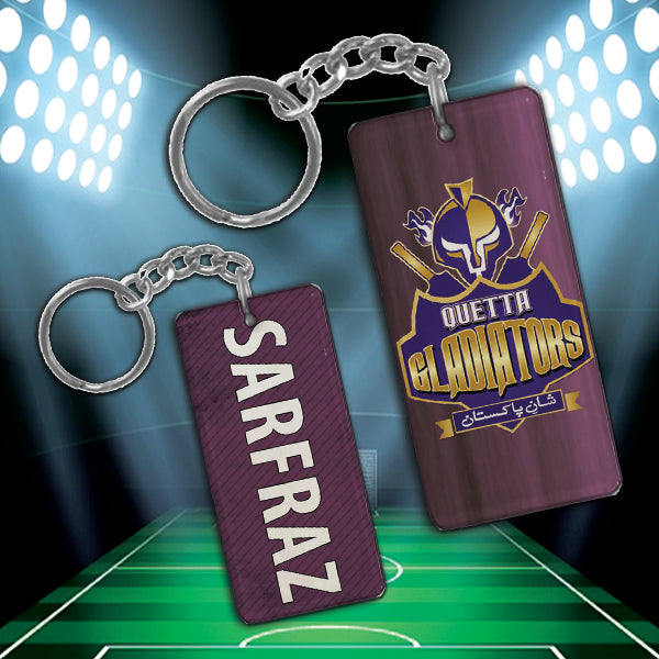 Quetta Gladiator metal keychain with your own name