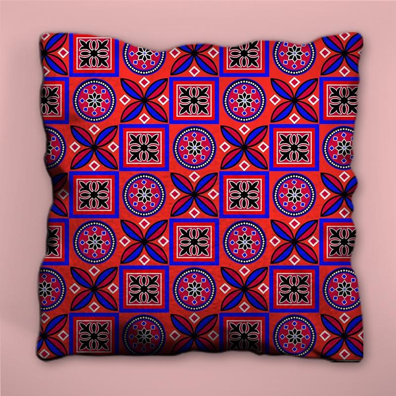 Red and Blue Ajrak Pattern Pillow