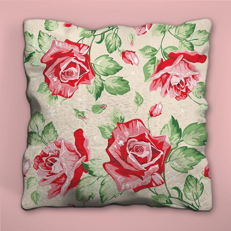 Red Flowers with Green Leaves Design Pillow