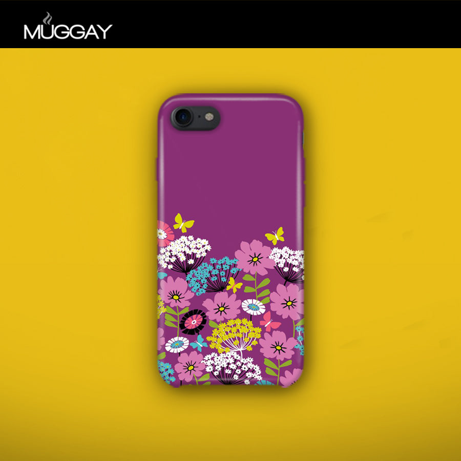Mobile Covers - Flowers with purple background