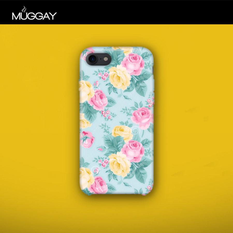 Mobile Covers -  Flowers with blue background