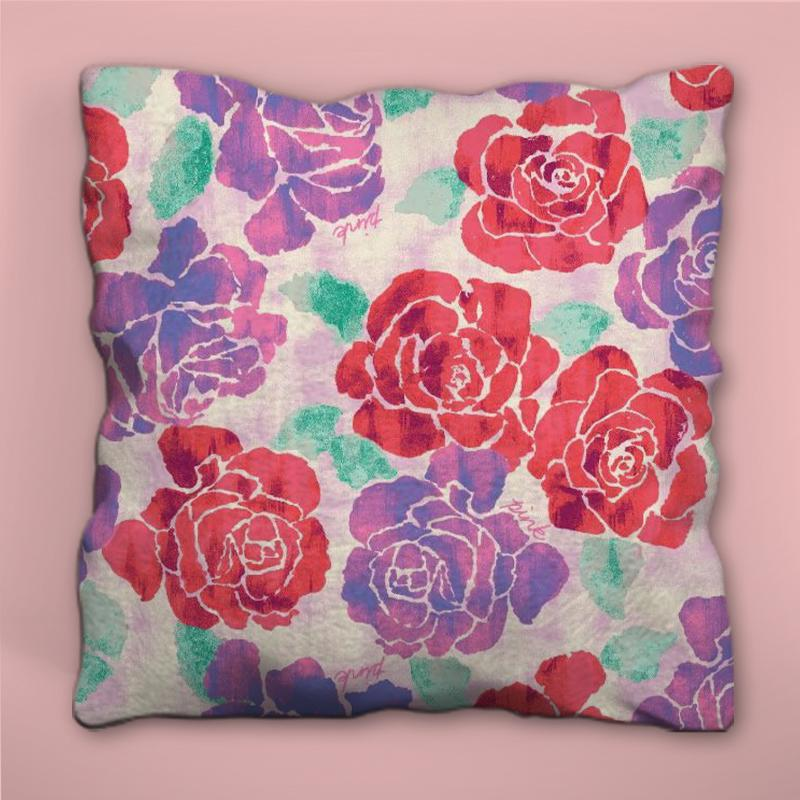 Glossy Red and Purple Flowers Pillow