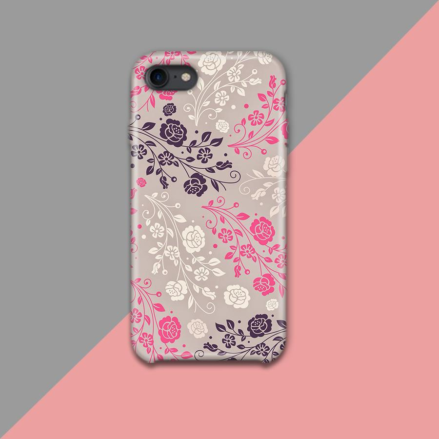 Pink Purplish and white Flower with Gray Background Design Phone Case