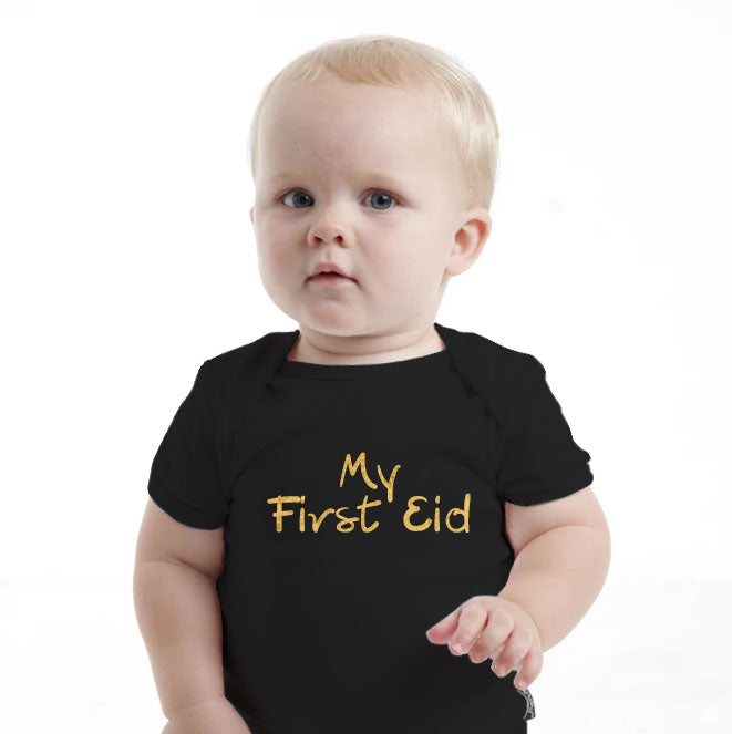 'My First Eid' Gold Baby Romper