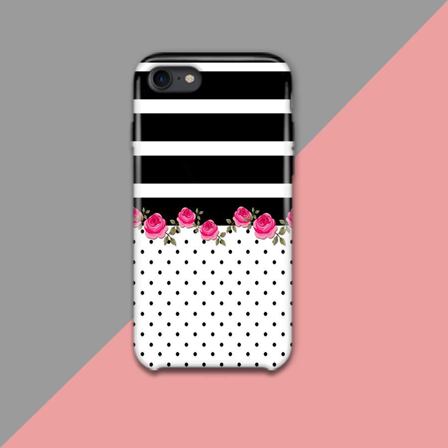 Black Strips And Dots With Pink Flowers Design Phone Case - Muggay.com - Mugs - Printing shop - truck Art mugs - Mug printing - Customized printing - Digital printing - Muggay