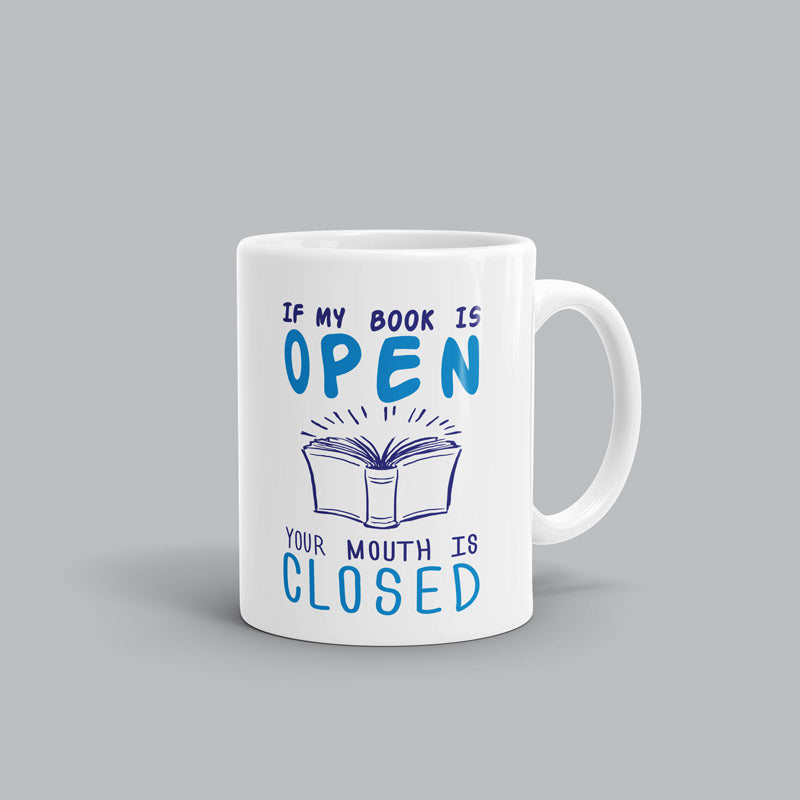 Mouth close, Open Book Mug