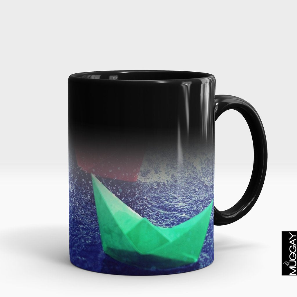 'Paper Boats in Rain' Lover Mug