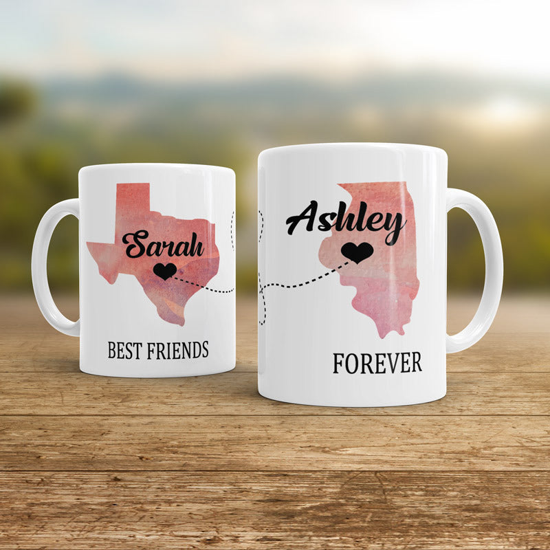 Map best friends  pair mug