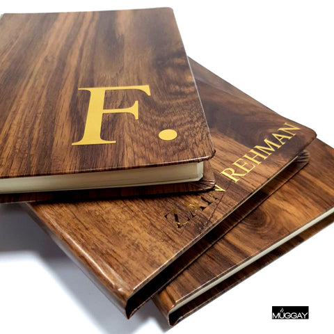 Wooden Journals with Gold Initials