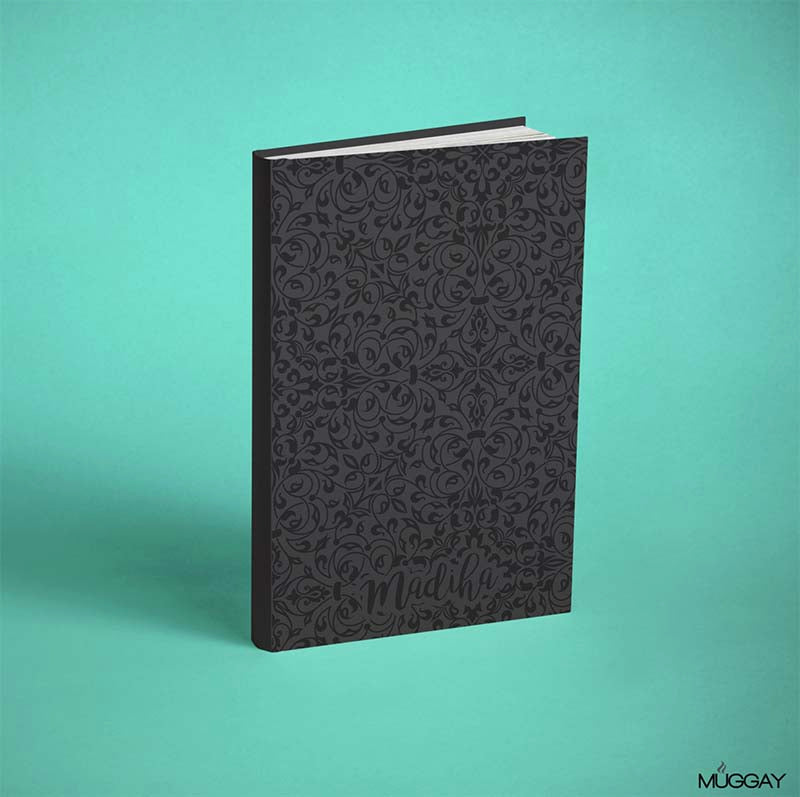 Black Faux Leather Diary with Oriental Texture