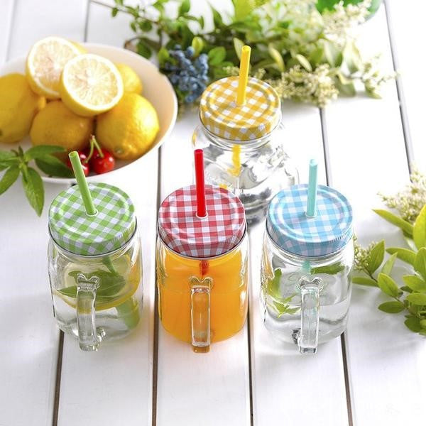Set of 4 Mason jars - Different Colors
