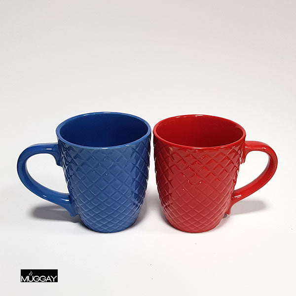 Patched Mug Pair Red+Blue