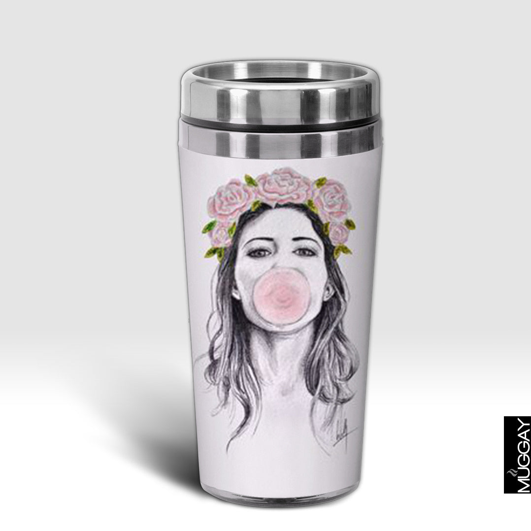 Bubble gum girl drawing Design Trug - Muggay.com - Mugs - Printing shop - truck Art mugs - Mug printing - Customized printing - Digital printing - Muggay