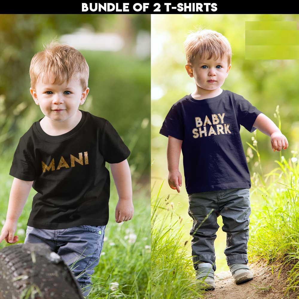kids T-shirt with Gold Name bundle of 2 shirts