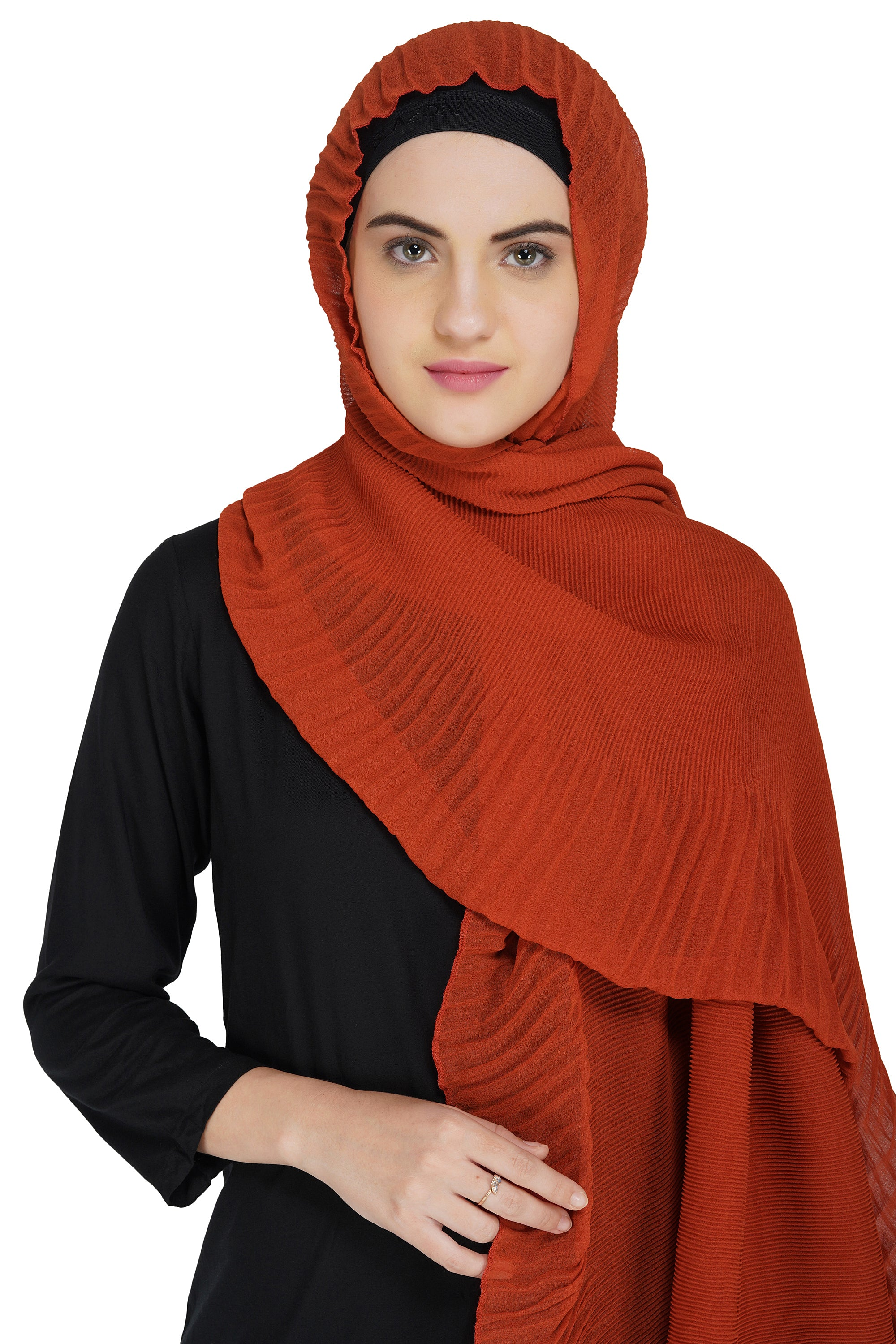 Ruqsar Combo Creased Amber Hijab and Floral Corsage Stole