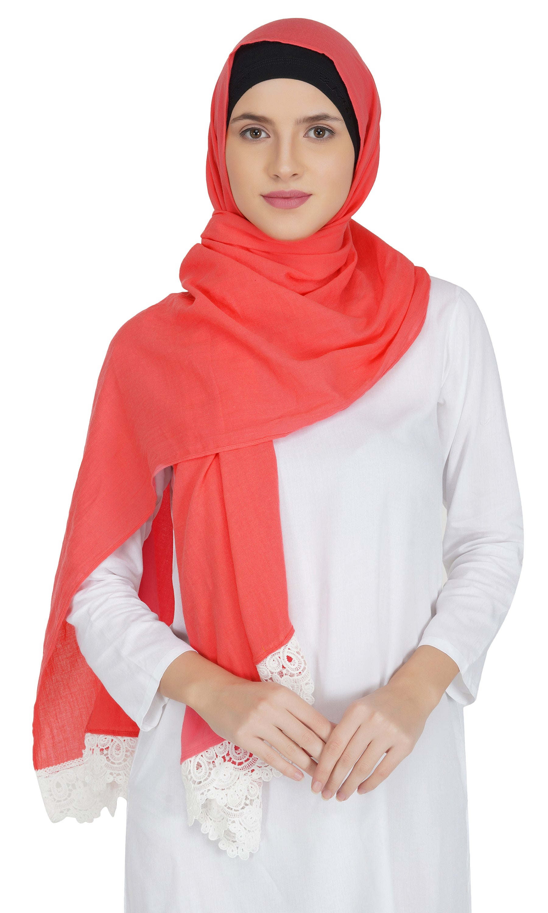 Ruqsar Combo Laced Apricot Stole and Laced Tangerine Stole