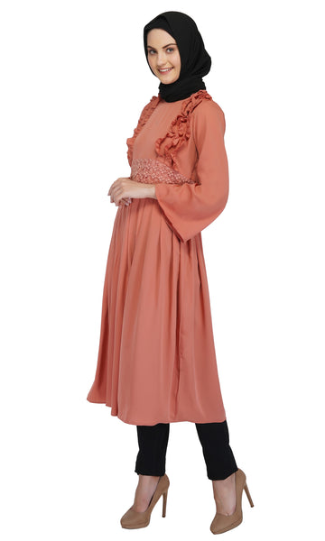 Pretty in Peach Dress By Ruqsar