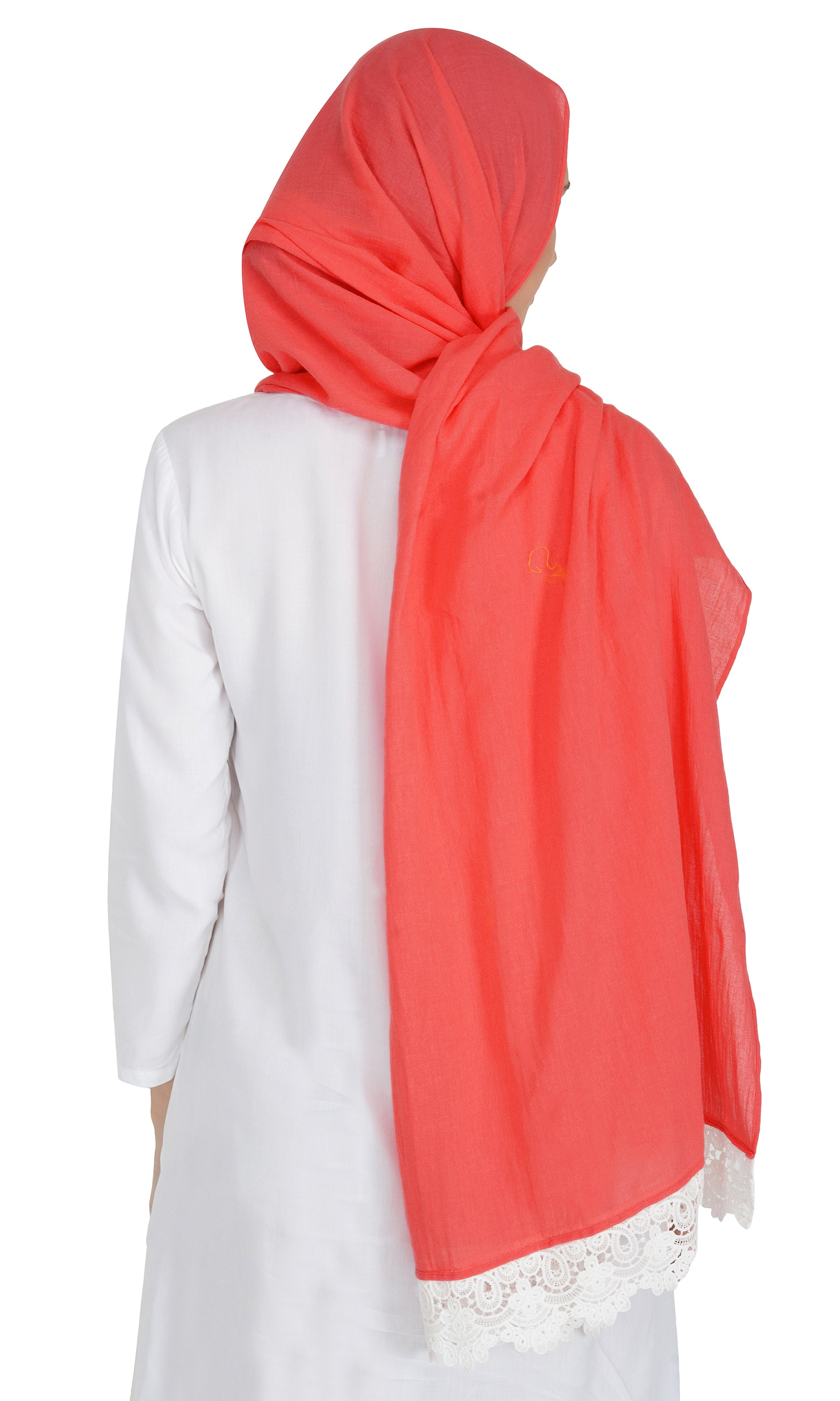 Ruqsar Laced Tangerine Stole