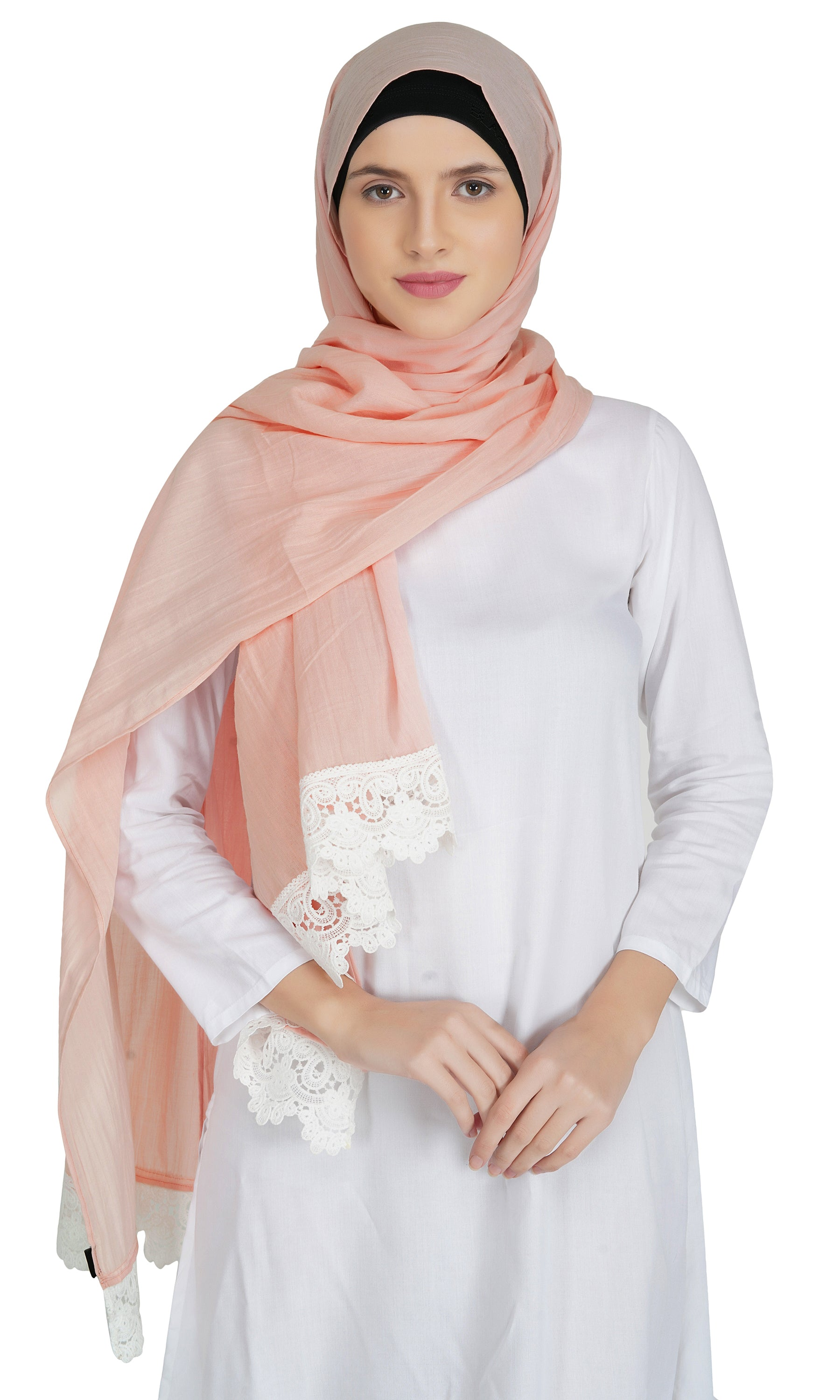 Ruqsar Combo of 4 Laced Apricot, Laced Tangerine, Laced Azure and Laced Arctic Stoles