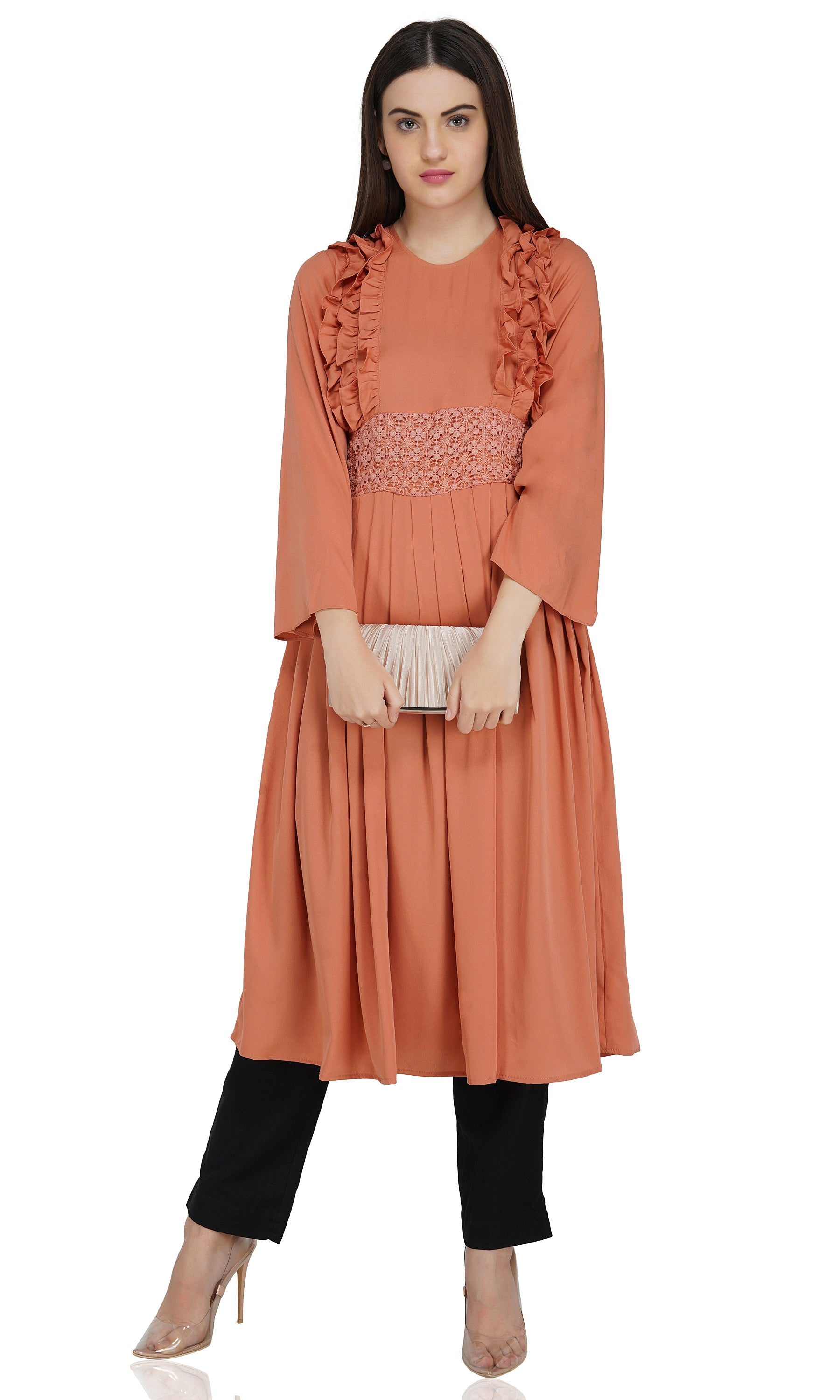 Ruqsar Pretty in Peach Dress and Bubble Black Headscarf Combo
