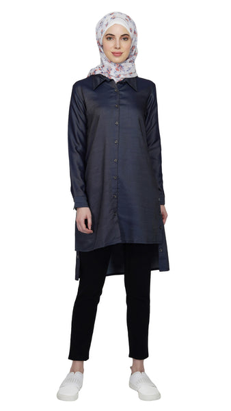 Antique Denim Tunic By Ruqsar