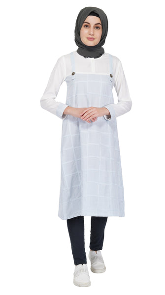 White Waterfall Dungaree Dress By Ruqsar