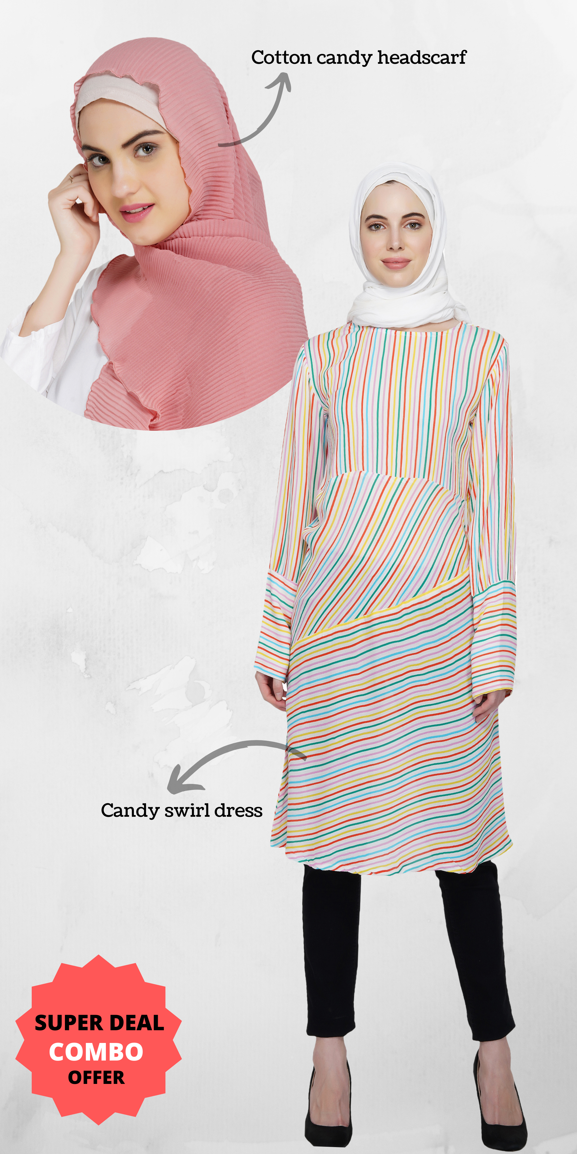 Ruqsar Candy Swirl Dress and Cotton Candy Headscarf Combo