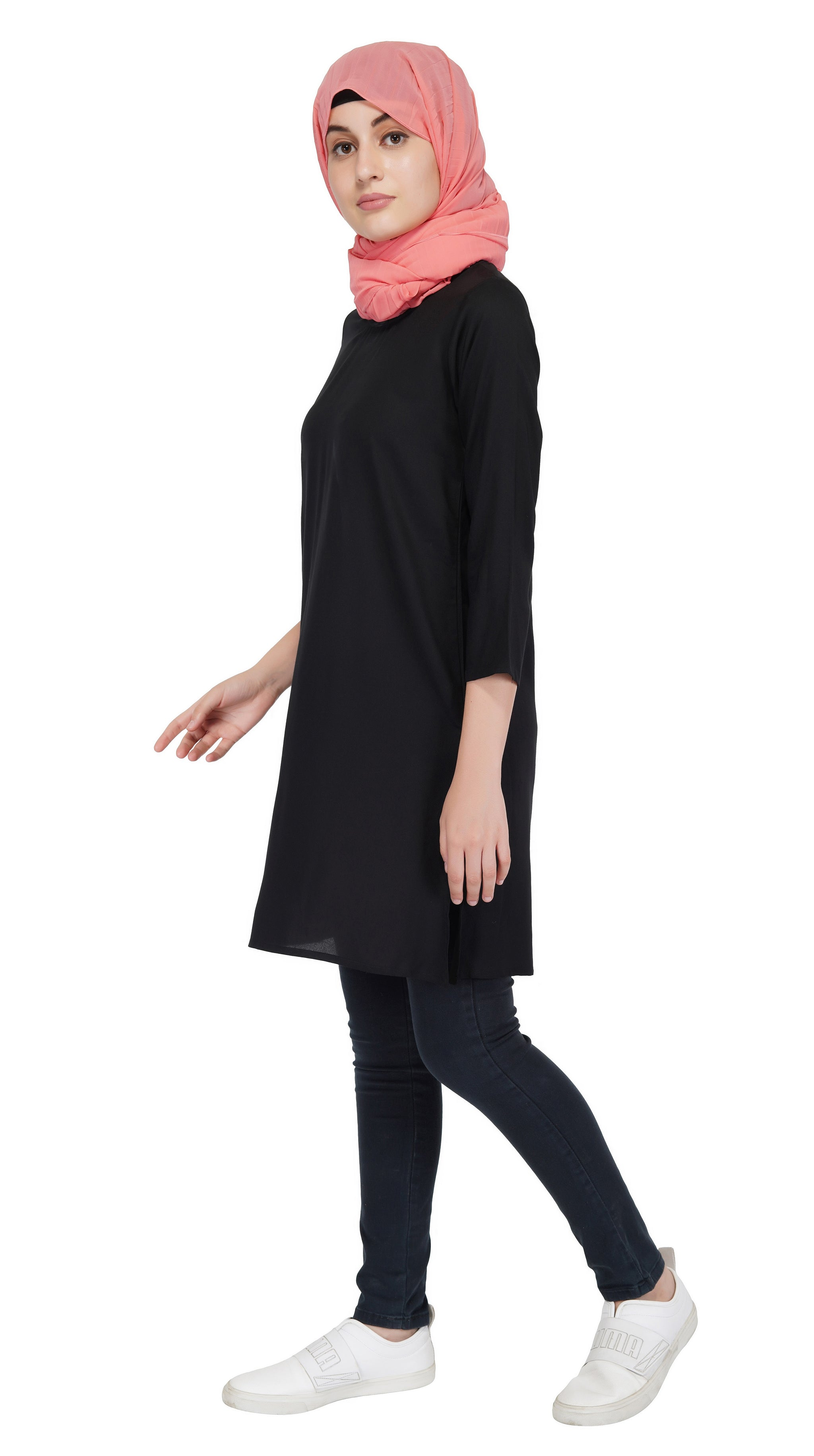 Ruqsar Moonlit Wave Trench Coat and Basics Black Tunic Combo