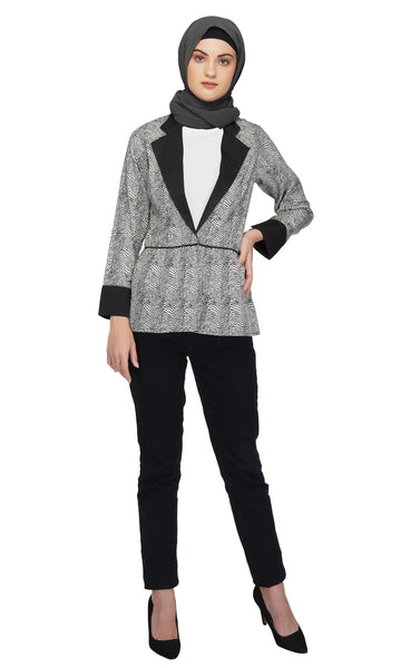 Ruqsar Salt and Pepper Jacket Coat and Basics Black Tunic Combo