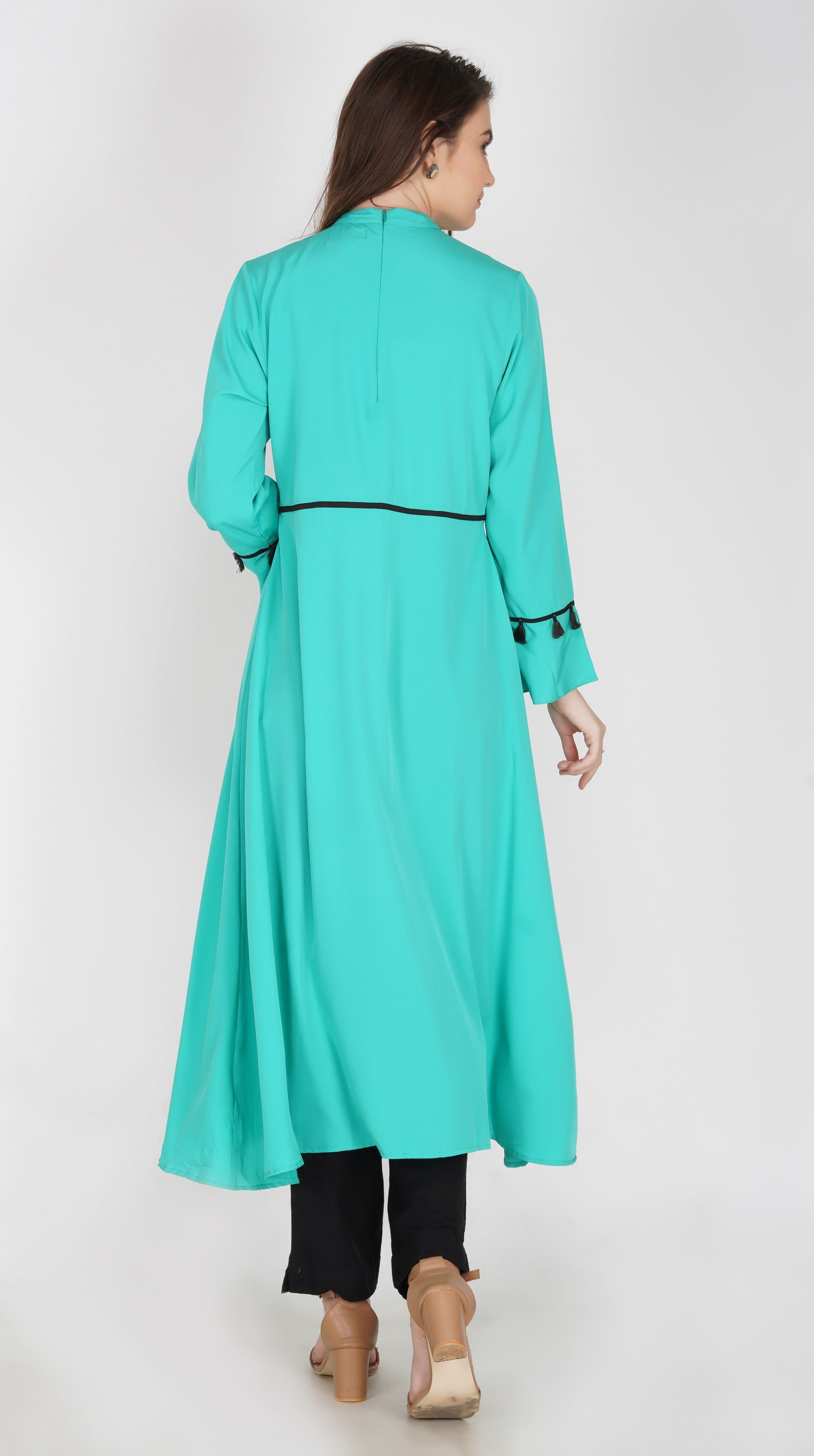 Ruqsar Pinned Emerald Dress and Simply Gris Stole Combo