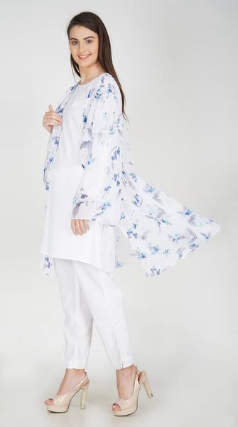 Ruqsar Snow Blossom Shrug and Basics White Tunic Combo