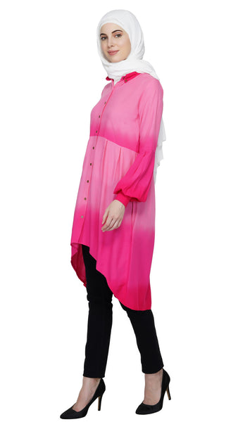 Pink Ombre Tunic Dress By Ruqsar
