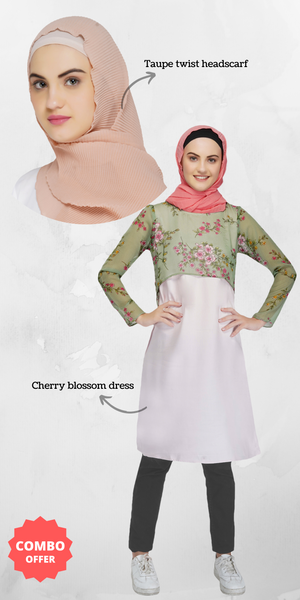 Ruqsar Cherry Blossom Dress and Taupe Twist Headscarf Combo