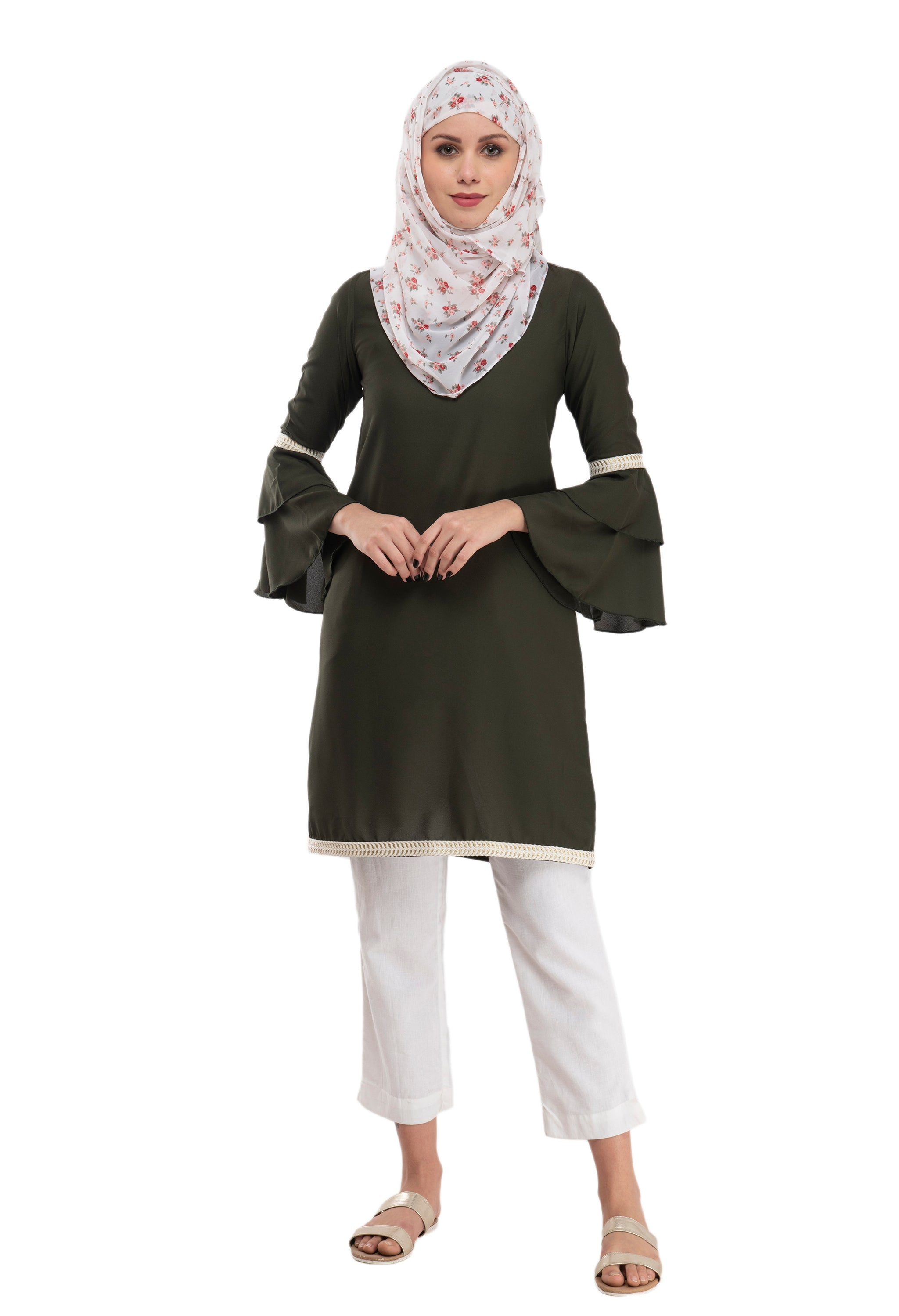 Olive Bell Sleeve Tunic By Ruqsar